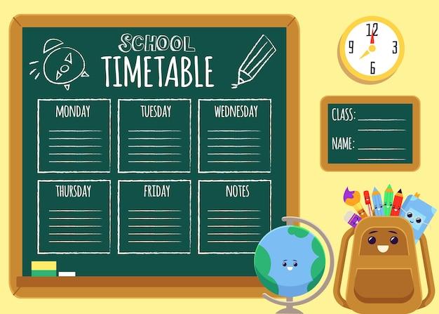 Calendrier scolaire de dessin animé sur tableau noir avec modèle de texte et mignon sac à dos et personnages de globe souriant - affiche d'illustration.