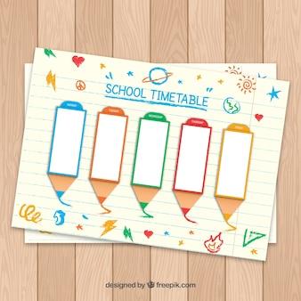 Calendrier scolaire dessiné à la main