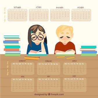 Calendrier scolaire avec deux étudiants