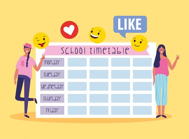 Calendrier scolaire avec étudiants et emojis