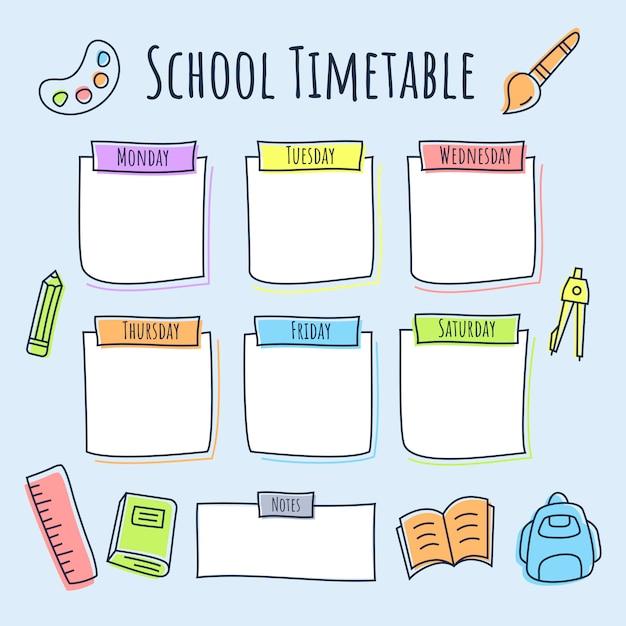 Calendrier scolaire avec l'icône de la ligne colorée