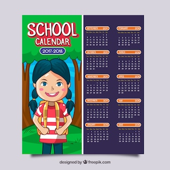 Calendrier scolaire avec jolie petite fille dessiné à la main