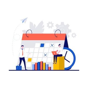 Calendrier de la semaine, plan quotidien, concepts d'organisateur de travail avec caractère.