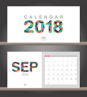 Calendrier de septembre 2018. modèle de conception moderne de calendrier de bureau avec des styles de papier découpé