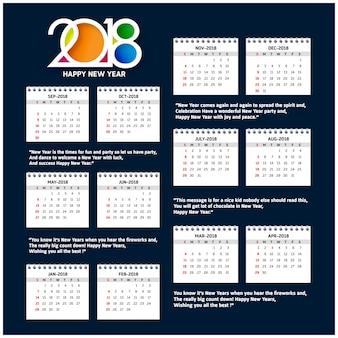 Calendrier simple pour l'année 2018 la semaine commence à partir du dimanche creative 2018 typographie fond bleu