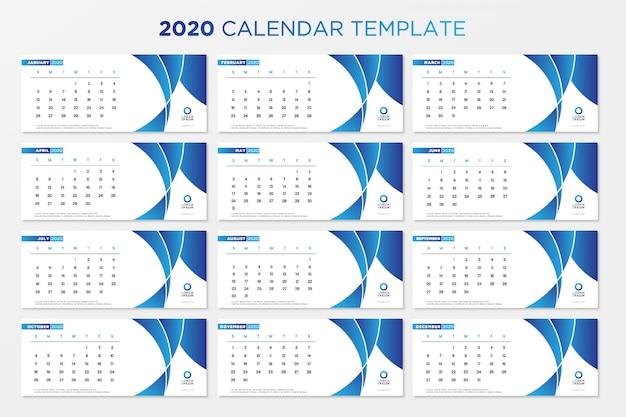 Calendrier de table bleu 2020