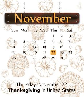 Calendrier de thanksgiving avec fond de citrouilles