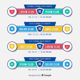 Calendrier de tournoi coloré avec un design plat