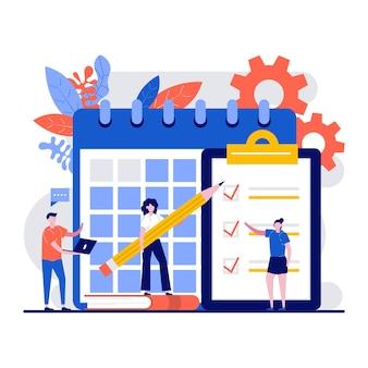 Calendrier de travail, concept de liste de tâches avec un petit personnage de gestionnaire planifie une semaine de travail