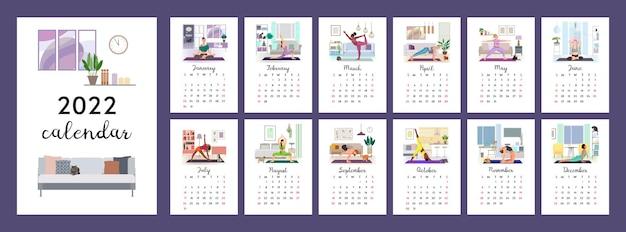 Calendrier vertical 2022 femmes faisant du yoga à la maison photo pour chaque mois