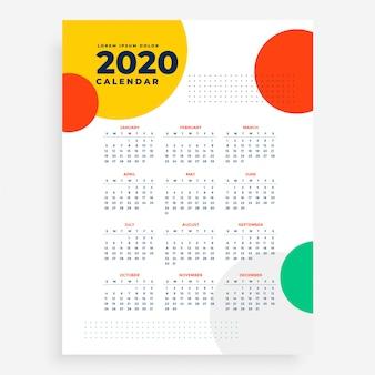Calendrier vertical du nouvel an 2020 dans un style moderne