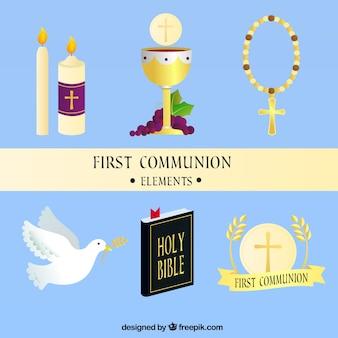 Le calice et les autres éléments de la première communion