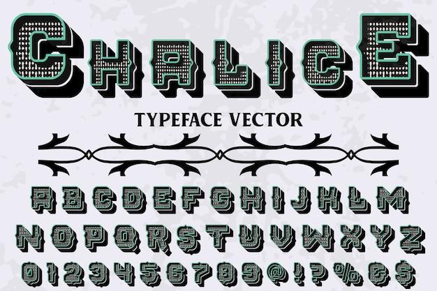 Calice de conception d'étiquettes shadow effect typographie