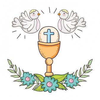 Calice sacré religieux avec colombes oiseaux