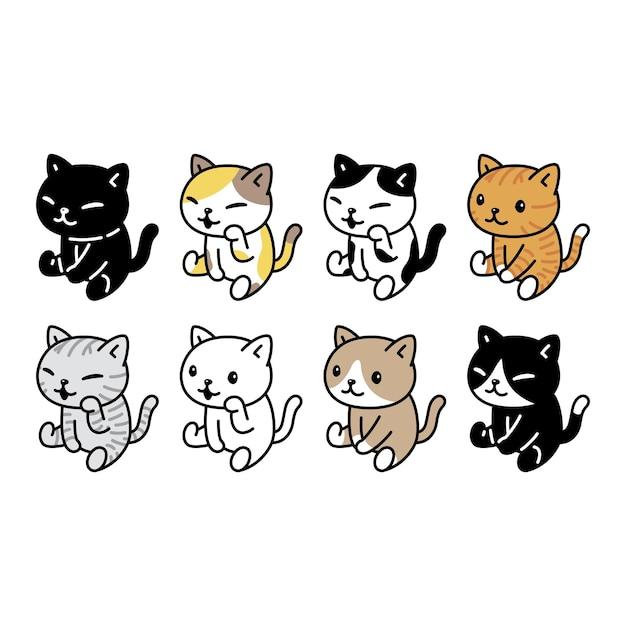 Calico de chaton de dessin animé de caractère de chat