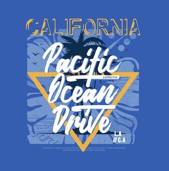California beach pacific ocean drive illustration vintage vecteur premium