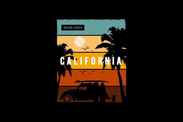 Californie, illustration de dessin à la main de style vintage rétro
