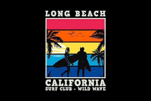 Californie longue plage, style rétro sleety design