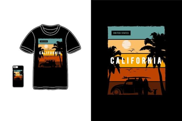 Californie, maquette de silhouette de marchandise de t-shirt