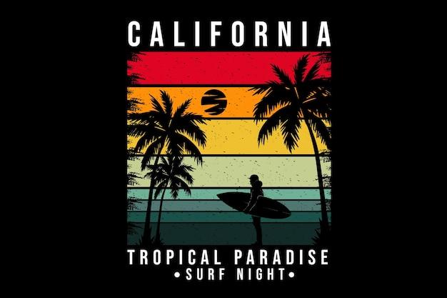 Californie paradis tropical silhouette design style rétro