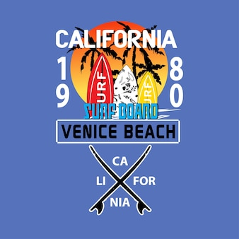Californie surf t-shirt simuler le vecteur graphique