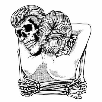 Câlin romantique entre un homme crâne et une femme illustration