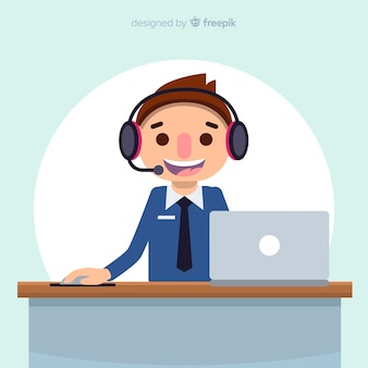 Call center background in flat design