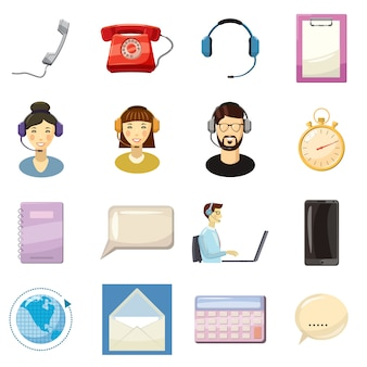 Call center icons set, style de bande dessinée