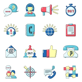 Call center icons set, style de bande dessinée