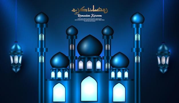 Calligraphie arabe du ramadan kareem avec mosquée