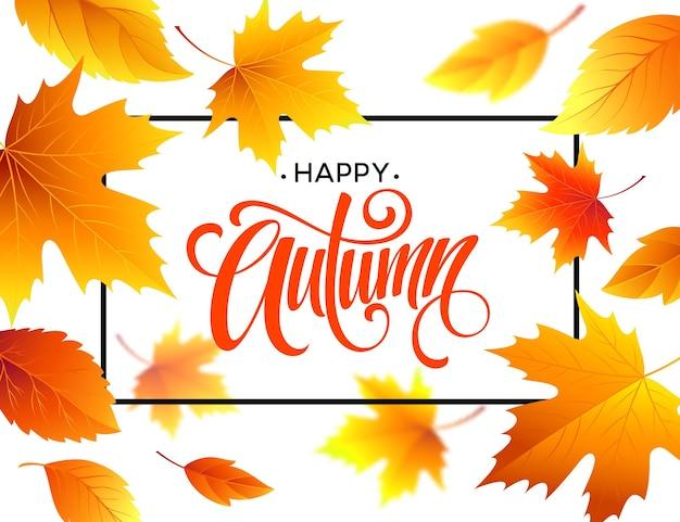 Calligraphie d'automne. fond de feuilles d'automne. dépliant de concept, flyer, affiche publicitaire. illustration vectorielle eps10