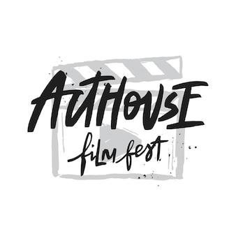 Calligraphie de brosse de vecteur de festival de film d'art et d'essai