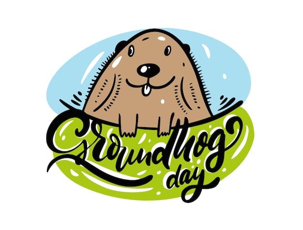 Calligraphie de célébration du jour de la marmotte. croquis de dessin à la main