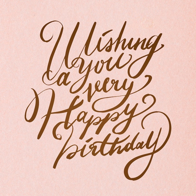 Calligraphie cursive de souhait d'anniversaire élégant