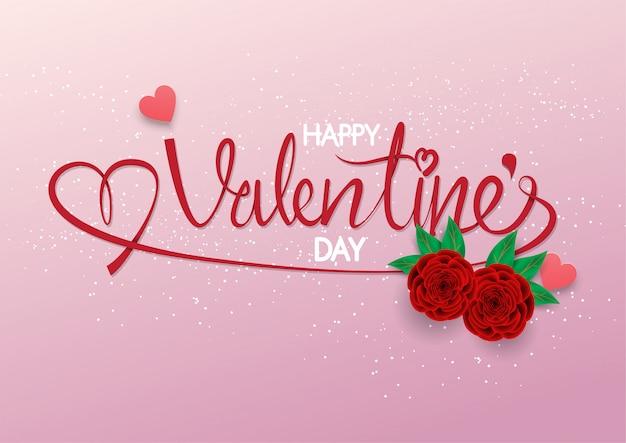 Calligraphie avec deux roses rouges sur fond rose, joyeuse saint-valentin