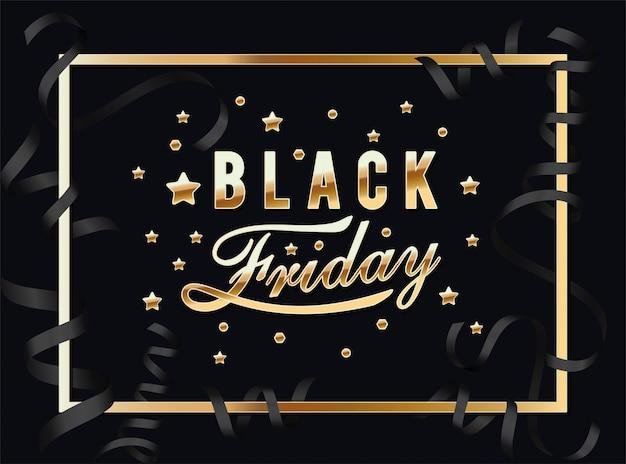 Calligraphie du vendredi noir dans un cadre doré avec étoiles