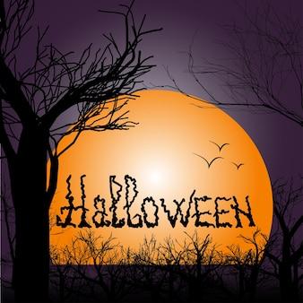Calligraphie d'halloween avec paysage de nuit. illustration vectorielle pour carte de voeux, invitation à une fête, affiche de vente ou bannière web.