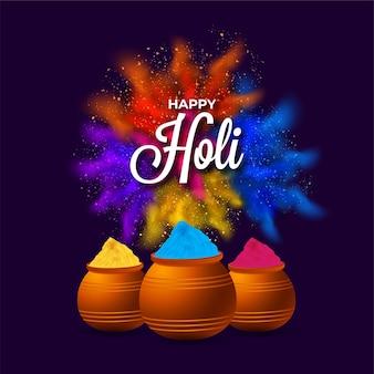 Calligraphie hindi holi hai (c'est holi) avec poudre (gulal)