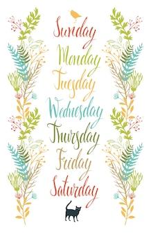 Calligraphie jours de la semaine avec des fleurs