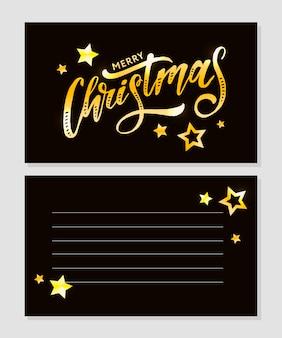 Calligraphie joyeuse de noël ornée d'étoiles et de perles dorées.