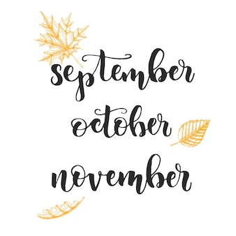 Calligraphie de lettrage d'automne - septembre, octobre, novembre. ensemble de mois d'automne et de feuilles dessinées à la main-châtaignier, bouleau, chêne isolé sur blanc. croquis, vecteur