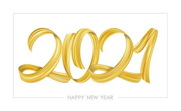 Calligraphie de lettrage de peinture golden brushstroke de 2021