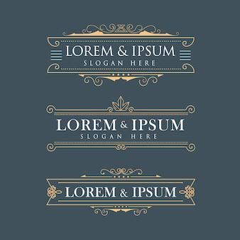 Calligraphie de logos vectoriels de luxe couronne frame s'épanouit t élégant