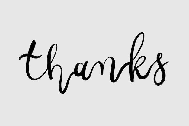 Calligraphie de message de remerciement noir