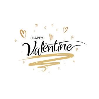 Calligraphie de la saint-valentin heureuse avec un style de brosse d'art