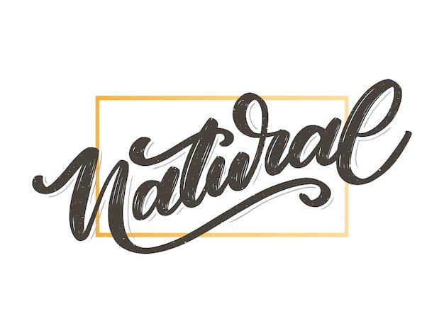 Calligraphie de slogan 100 natural vector lettrage stamp illustration