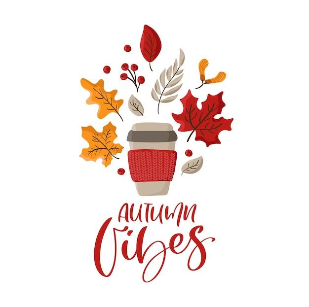 Calligraphie vectorielle lettrage texte autumn vibes avec tasse tricotée illustration et feuilles d'oranger d'automne.