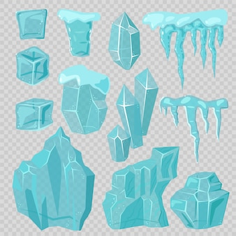 Calottes glaciaires, glaçons et glaçons éléments vectoriels ensemble