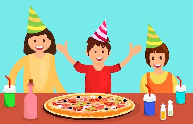 Camarades de classe, célébrer, anniversaire, illustration
