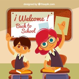 Les camarades de classe smiley augmentent les mains